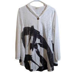 ET. LOIS one button hooded art print cardigan